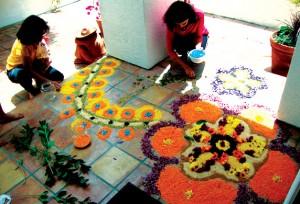 India patio petal painting